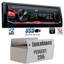 JVC Auto Radio für Peugeot 206 Autoradio Android 4x50Watt KFZ Einbauset MP3 USB