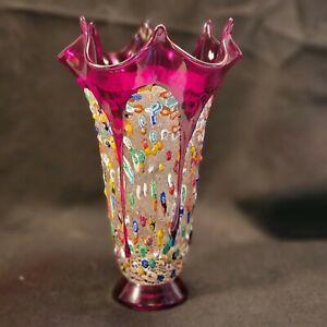 Italy Murano Glass Millefiori Fazzoletto Vase - Red signed original sticker Mint