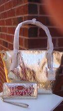 NWT MICHAEL KORS Gold Metallic-Mirror Tote-Shoulder Bag & Continental Wallet