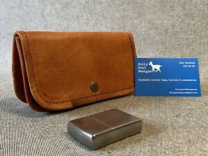 Leather Tobacco Pouch w Press Stud WTPS Canvas Lining 50gm Billy Goat Designs