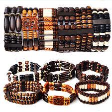 20pcs Wholesale Lots Mixed Wood Beads Stretchy Elastic Bracelets Cuff Wristbands