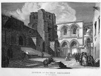 JERUSALEM CHURCH OF HOLY SEPULCHRE JESUS DIED TOMB ~ c 1840 Art Print Engraving