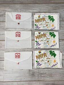 Set of 3 Catstudio Napa California Embroidered Dish/Hand/Bar Towel Multicolored