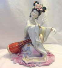 """CHINESE LADY MUSICIAN PORCELAIN HEAVY FIGURINE 11"""" TALL QUALITY VINTAGE DRUM"""