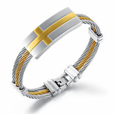Stainless Steel Twisted Cable Wire Cross Cuff Bangle Bracelet for Mens 15mm
