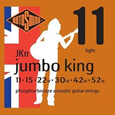 ROTOSOUND JK11 Jumbo King Phosphor Bronze ACUSTICA CHITARRA corde Gauge 11-52