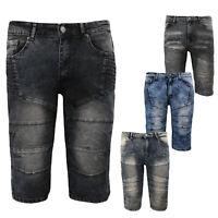 NWT Men/'s LR Scoop Black Moto Quilt Distressed Jean Denim Shorts ALL SIZES 32-42