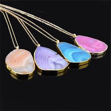 Magic Agate Druzy Emperors Quartz stone Naturals Gold Pendant Necklaces Jewelry