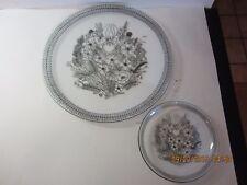 Vintage Scandinavian Art Glass Plates-Clear Glass W/ Black Floral Graphics-Large