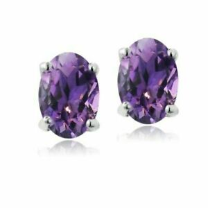 Women's 925 Sterling Silver  Earrings Stud Amethyst Oval Purple Earring