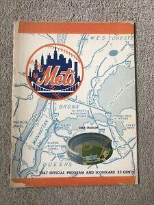 1967  Baseball program New York Mets, Unscored Vs Atlanta Braves Hank Aaron POOR