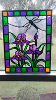 Dragonfly and Purple Irises Stained Glass Window Panel Hand Painted