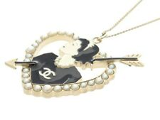 RARE Coco Chanel Pearl Heart Arrow Necklace Pendant