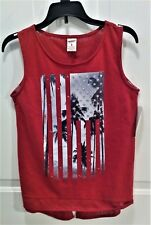 NWT Arizona Jean S/L Top, Girl's Size 16 XL, Glitter Stars on Palm Trees & Red
