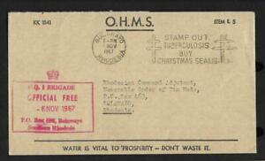RHODESIA, 1967 BUSH WAR COVER, WITH  HQ 1 BRIGADE CACHET IN RED, TO  TIN HATS