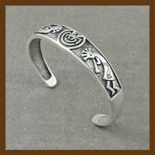 bracelet kokopelli with human in the maze silver black ,92.5 sterling silver