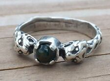 Medieval Lion Ring .925 Sterling Silver Sz 8 w/ Natural Bloodstone Heliotrope