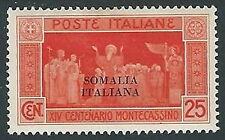 1929 SOMALIA MONTECASSINO 25 CENT MH * - K153