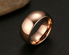 Men Women Rose Gold Wedding Anniversary Ring Tungsten Steel Band 8mm Size O-y 9