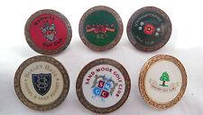 6 x Brass Golf Ball Marker English Golf Clubs (lot 5)