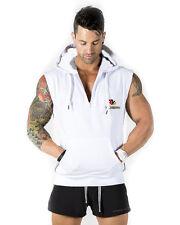 Mens Sleeveless Zip Up Gillet Hoodie Hooded Sweatshirt Lightweight Hoody Top HZ