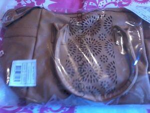 HANDBAG Cut work small bag, light brown, leather look, shoulder strap POST FREE