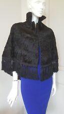 Stunning black lamb soft karakul real fur coat cape poncho fringe sz S-M