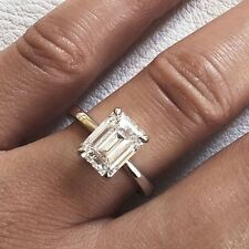 Classic 0.70 ct. Emerald Cut Diamond Engagement Solitaire GIA E, VS2 14k WG