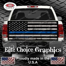 Thin Blue Line Flag Truck Tailgate Wrap Vinyl Graphic Decal Sticker Wrap