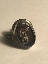 """Men's Lapel Pin *Read Description* Vintage Etched """"T"""" Initial Letter"""