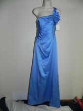 Davids Bridal Dress Size 4 Cornflower Blue Bridesmaid F14430 Satin Prom NWT $159