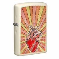 Zippo Heart Design Cream Matte Pocket Lighter, 49397