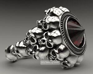 3.87 ct Black Onyx  Gothic Inverted Skulls 925 Sterling Silver Biker Rider Ring
