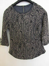 Black Grey & Gold M&S 3/4 Sleeve Top in Size 10 - Pattern like Paisley