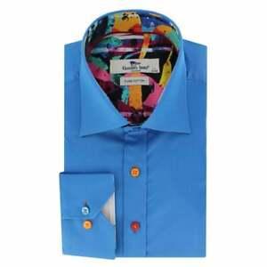Mens Claudio Lugli Plain Abstract Painting Insert Shirt CP6612 Blue