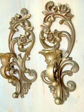 Pair Home Interior Gold Wall Sconce Candle Holders Ornate chic Floral