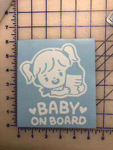 Girl Baby on Board Car Bumper  Sticker Decal Safety Caution Sign for Car Window