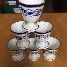 RARE Antique Royal Crown Derby Blue White & Gold 6 Footed Egg Cups