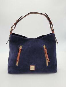 DOONEY & BOURKE Navy Blue Suede & Brown Leather Cooper Hobo Shoulder Bag Purse