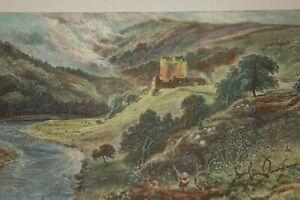1875. PEEBLES. NEIDPATH CASTLE. RIVER TWEED. ANTIQUE PRINT.  SCOTTISH BORDERS