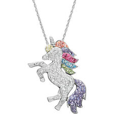 "Unicorn Pendant 18"" Chain Necklace Sterling Silver Rainbow Swarovski Crystals"
