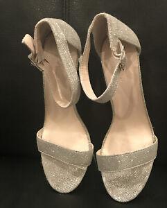Davids Bridal Ankle Strap Silver Heels (Sz 8.5). Worn Once. 3 Inch Heel.