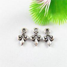 100x Vintage Silver 19*15*2mm Fleur-De-Lis Alloy Charms Pendants Findings 51624