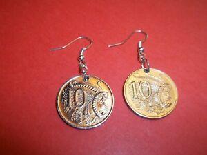 TEN (10) CENT COIN DROP EARRINGS - AUSTRALIA - 1966 to 2013