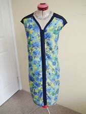 MARCO POLO Navy Blue Yellow DRESS Size 14 Floral Print Shift Lined Black Green