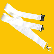 Design Your Own Custom Personalised WHITE, Safety Break clip Lanyard.