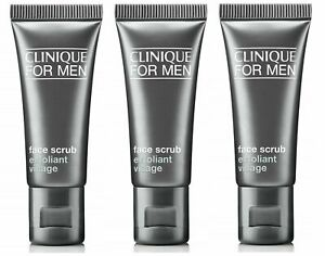 Clinique For Men Face Scrub Trio, 3x 15ml Travel Size Exfoliating Face Wash 45ml