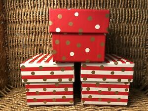 """3 CLEMENTINE PAPER INC. ~ CHRISTMAS ~ 4"""" STORAGE or GIFT CUBE BOXES w/ LIDS"""