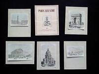 Paris gravures coloriées à la main monuments estampes Vendôme Arc de Triomphe