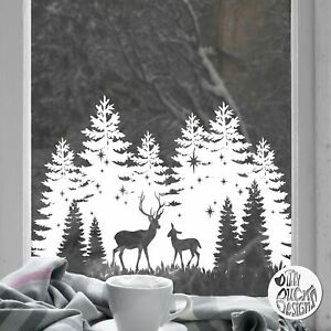 White Trees Stag Christmas Window Sticker - Dizzy Duck Xmas Window Cling Decals